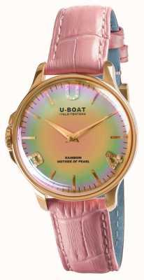 U-Boat Кожаный ремешок Rainbow 38 мм, розовое золото, розовое золото, розовое золото 8473