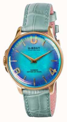 U-Boat Радужный 38мм синий кожаный ремешок ip gold blue 8475