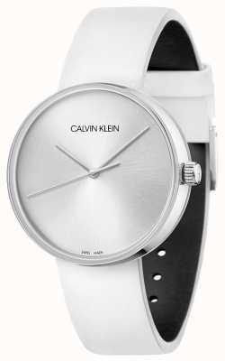 Calvin Klein Женский кожаный ремешок белого цвета | серебряный циферблат KBL231L6