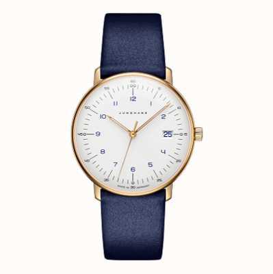Junghans Синий кожаный ремешок max bill damen 47/7851.04