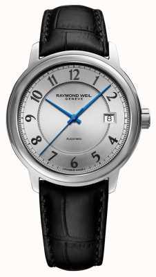 Raymond Weil | маэстро | автоматический | серебряный арабский циферблат | черный кожаный ремешок 2237-STC-05658
