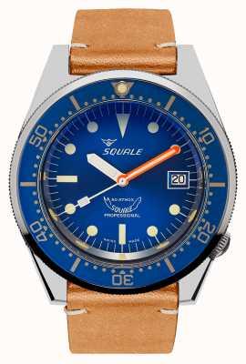 Squale Океан | автоматический | синий циферблат | коричневый кожаный ремешок 1521OCN.PC-CINVINTAGE