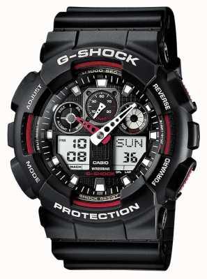 Casio G-shock хронограф сигнальный черный красный GA-100-1A4ER
