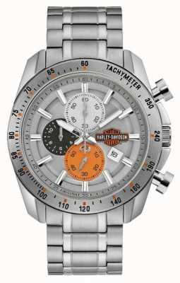 Harley Davidson Мужской браслет из нержавеющей стали | серебряный циферблат 76B186