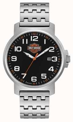 Harley Davidson Мужской браслет из нержавеющей стали | черный легко читаемый циферблат 76B187
