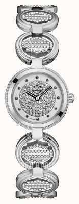 Harley Davidson Женский браслет из монетных звеньев с кристаллами | хрустальный циферблат 76L179