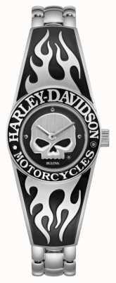 Harley Davidson Женский циферблат с изображением пылающего черепа | браслет из нержавеющей стали 76L190