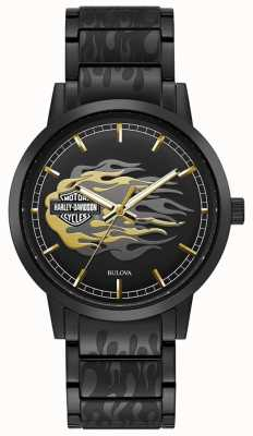 Harley Davidson Мужское пламя | браслет из черной стали | черный циферблат 78A121