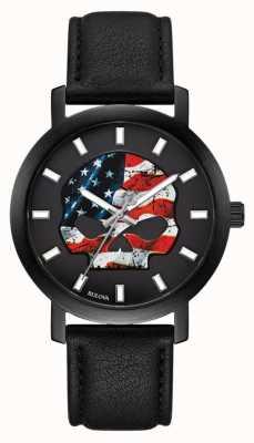 Harley Davidson Американский флаг уилли г | черный кожаный ремешок 78A122