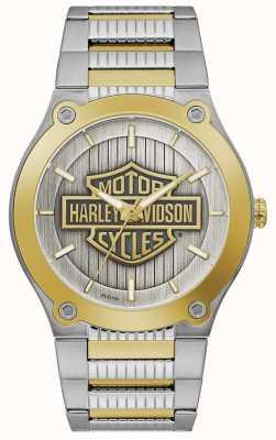 Harley Davidson Мужской двухцветный стальной браслет | серебряный циферблат 78A125
