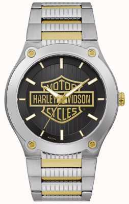 Harley Davidson Мужской двухцветный стальной браслет | черный циферблат 78A126
