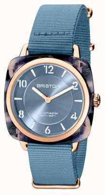 Briston Клубный шик | синий циферблат 36 мм из розового золота | синий ремешок нато 21536.PRA.UB.25.NIB