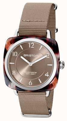 Briston Клубный шик | серебристый циферблат, 36 мм, серо-коричневый | темно-серый ремешок нато 21536.SA.UBR.30.NT
