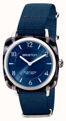 Briston Клубный шик | серебристый темно-синий циферблат 36 мм | темно-синий ремешок нато 21536.SA.UB.33.NMB