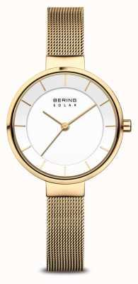Bering Женские часы с позолоченным сетчатым браслетом Solar 14631-324