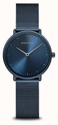 Bering Классические сверхтонкие монохромные часы синего цвета 15729-397