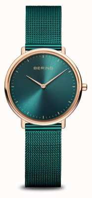 Bering Классические женские часы зеленого и розового золота 15729-868