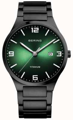 Bering Мужские часы с титановым зеленым циферблатом 15240-728