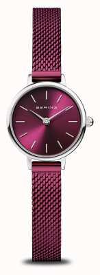 Bering Классический | женские | полированное серебро | фиолетовая сетка 11022-909