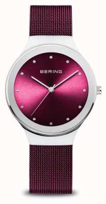 Bering Классический | женские | полированное серебро | фиолетовая сетка 12934-909
