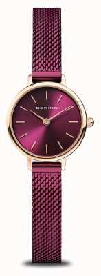 Bering Классический | женские | полированное розовое золото | фиолетовая сетка 11022-969