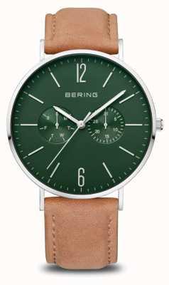 Bering Классический | мужские | полированное серебро | коричневый кожаный ремешок 14240-608