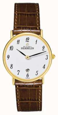 Michel Herbelin Сонаты | 26мм | белый циферблат | коричневый кожаный ремешок 16845/P28GO