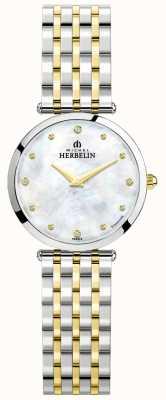Michel Herbelin Эпсилон   перламутровый циферблат   двухцветный стальной браслет 17116/BT89