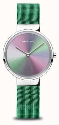 Bering Юбилей | женские | полированное серебро | зеленый сетчатый браслет 10X31-ANNIVERSARY1