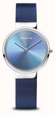 Bering Юбилей | женские | полированное серебро | синий сетчатый браслет 10X31-ANNIVERSARY2