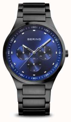 Bering Классический | мужские | матовый черный | синий циферблат 11740-727