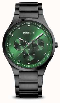 Bering Классический | мужские | матовый черный | зеленый циферблат 11740-728