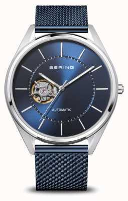 Bering Автоматическая | мужские | полированное / матовое серебро | синий циферблат 16743-307