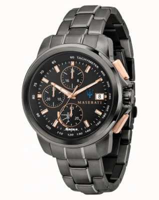 Maserati Мужские часы Successo solar в черном и розовом золоте R8873645001
