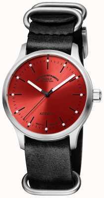 Muhle Glashutte Панова красный черный кожаный ремешок M1-40-78-LB