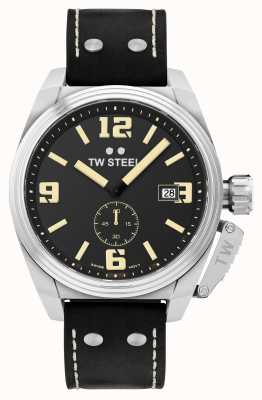 TW Steel Мужской кожаный ремешок для столовой черный кожаный TW1001