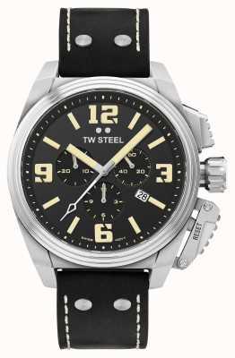TW Steel Столовая хронограф черный кожаный ремешок TW1011