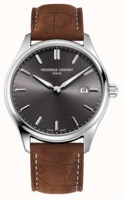 Frederique Constant Классический кварц | коричневый кожаный ремешок | серый циферблат FC-220DGS5B6
