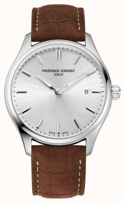 Frederique Constant Классический кварц | коричневый кожаный ремешок | серебряный циферблат FC-220SS5B6