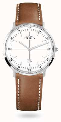 Michel Herbelin Городской кварцевый коричневый кожаный ремешок с белым циферблатом 19515/12GON