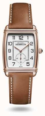 Michel Herbelin Арт-деко | серебряный циферблат | коричневый кожаный ремешок 10638/PR22GO