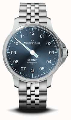 MeisterSinger Часы Unomat из нержавеющей стали с синим циферблатом с солнечными лучами UN917