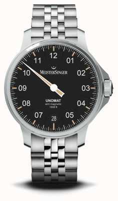 MeisterSinger Unomat браслет из нержавеющей стали с черным циферблатом с солнечными лучами UN902