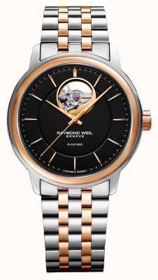 Raymond Weil Мужские двухцветные наручные часы Maestro с черным циферблатом 2227-SP5-20021