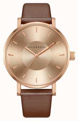 Klasse14 Volare 42 мм коричневый кожаный ремешок из розового золота VO14RG002M