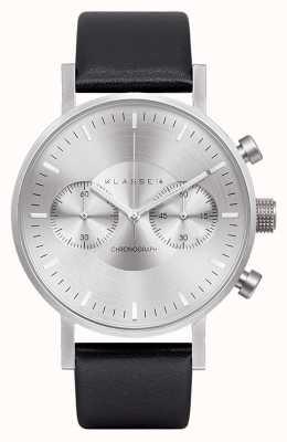 Klasse14 Хронограф серебряный циферблат черный кожаный ремешок VO15CH001M