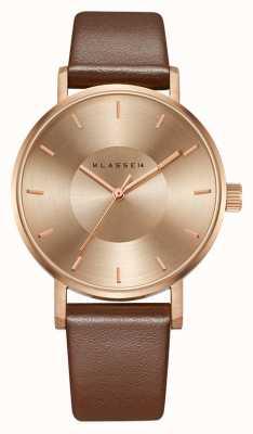 Klasse14 Volare 36 мм коричневый кожаный ремешок из розового золота VO14RG002W
