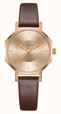 Klasse14 Okto розовое золото коричневая кожа 28мм OK17RG001S