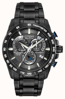 Citizen Мужские радиоуправляемые вечные часы хронограф черный ip AT4007-54E