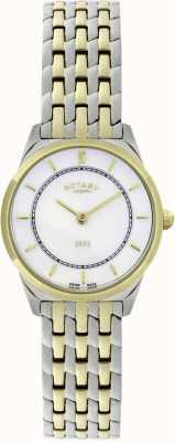 Rotary Женские двухцветные ультратонкие браслетные часы LB08001/02